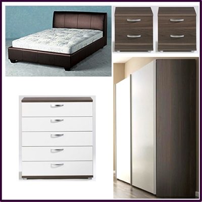 The 'Classic' bedroom furniture package contrasts white