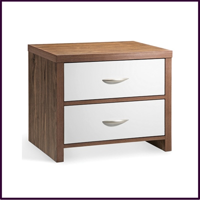 White Gloss and Walnut Finish 2 Drawer Bedside Cabinet