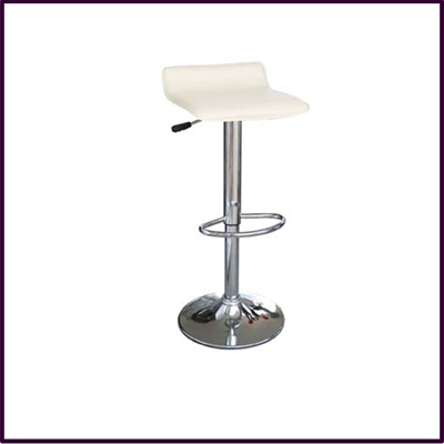 Cream Leather Effect Seat Bar Stool Chrome Legs