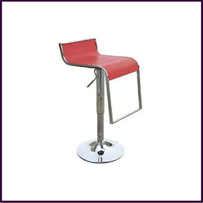 Red Square Seat Lower Back Height Adjust Bar Stool With Chrom Ftrst Base