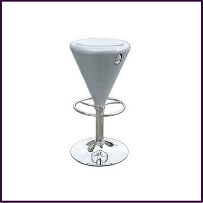 Sliver Cone Shp Rnd Height Adjust Bar Stool With Chrome Ftrest Base