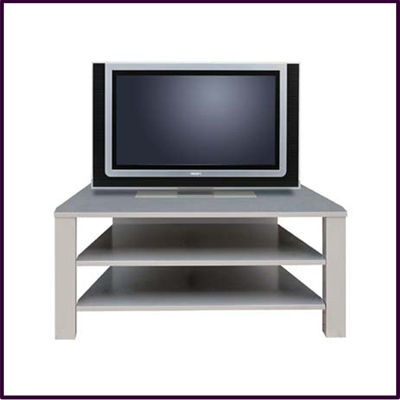Large Silver Coloured Twin Shelved TV Stand