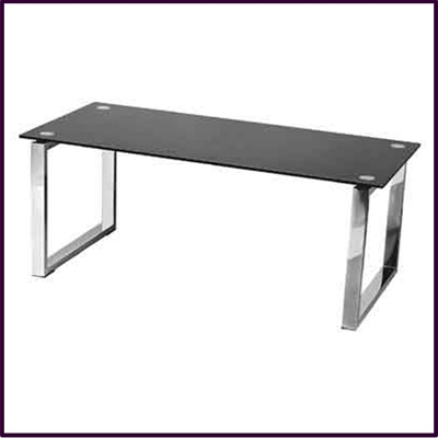 Black Tempered Glass Coffee Table With Chrome Legs