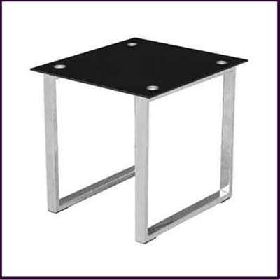 Black Glass and Chrome Side Table