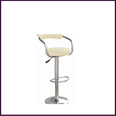 Cream Leather Effect Modern Bar Chair