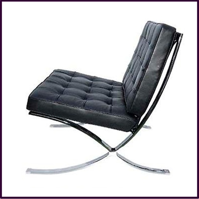 Black Leather Sofa Chair With Chrome Legs
