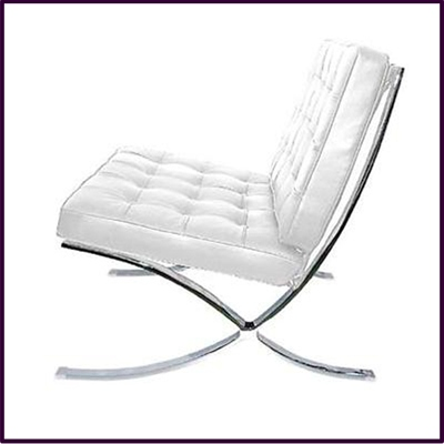 White Leather Sofa Chair With Chrome Legs