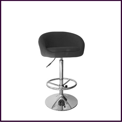 Bar Stool Height Adjustable With Black Fabric Covered Seat