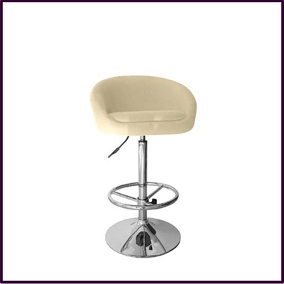 Bar stool Height Adjustable With Cream Fabric Covered Seat
