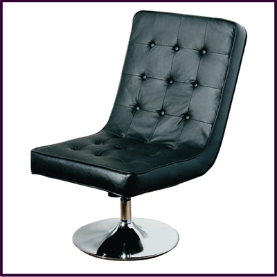 Madrid Swivel Chair Recliner Black Leather With Chrome base