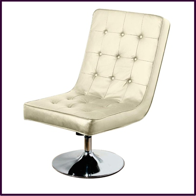 Madrid Swivel Chair Recliner Cream Leather With Chrome base