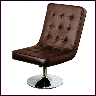 Madrid Swivel Chair Recliner Brown Leather With Chrome base