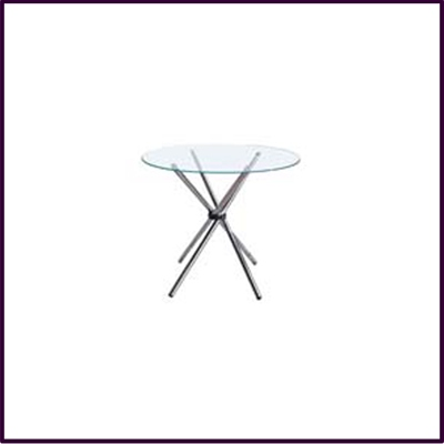 Modern Clear Tempered Glass Circular Dining Table With Chrome Legs
