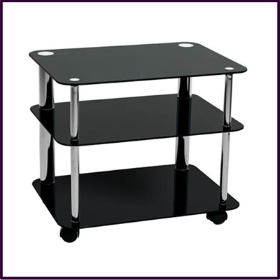 Small 3 Tier Black Glass TV / DVD Unit