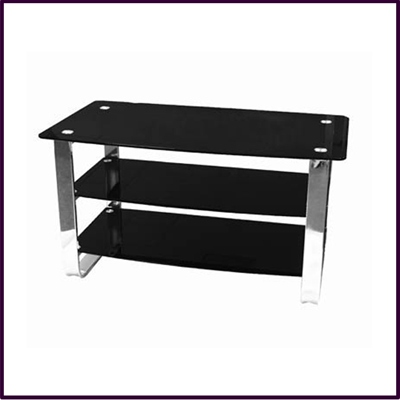 TV/DVD Unit 3 Tier Rect Black Temp Glass Chrome Frame