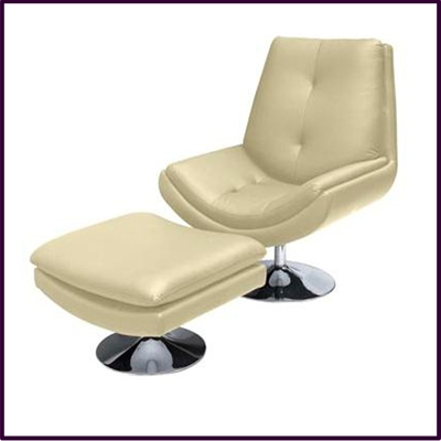 Genoa Chair & Stool Cream Genuine Leather With Chrome Base
