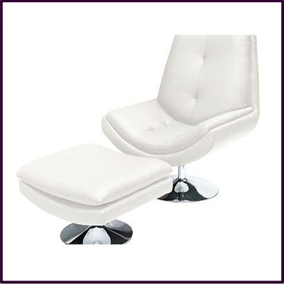 OUT OF STOCK Genoa Chair And Stool White Genuine Leather With Chrome Base