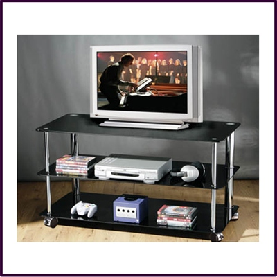 3 Tier Rect TV/DVD Unit - Black Glass Tube Charme Frame With Wheels