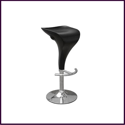 Massimo- Bar Stool Matte Black With Chrome Base & footrest