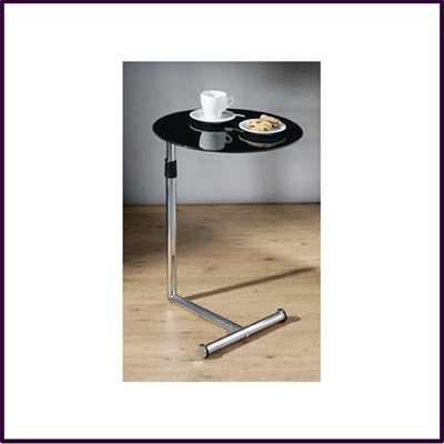 Adjustable Black Glass Round Snack / Side Table