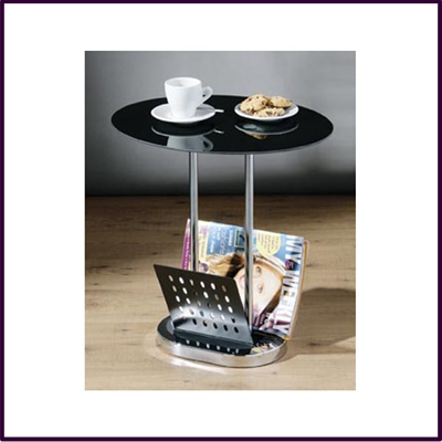 Oval Black Glass Side Table With Magazine Rack