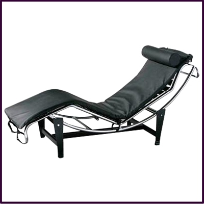 Black Lounger Chair With Chrome Frame & Black Base