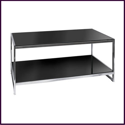 2 Tier Coffee Table Black Temp Glass With Flat Tubular Chrome Frame