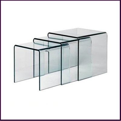 S 3 Cascade Bent Clear Glass Nesting Tables