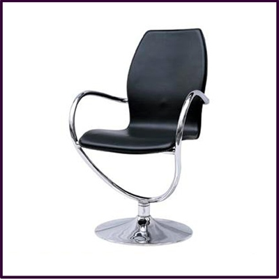 Onda Swivel Chair Black Faux Leather With Chrome Base & Arms