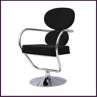 Roxy Swivel Chair Black Fabric With Chrome Base & Arms