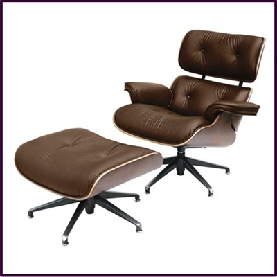 Charles Eames Style Swivel Chair & Foot Stool Genuine Brown Leather