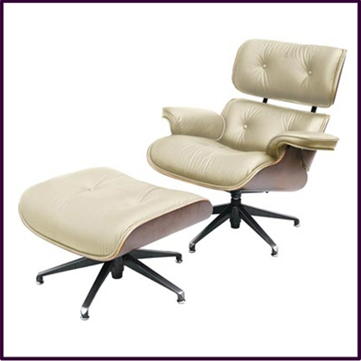 Charles Eames Style Swivel Chair And Foot Stool In Genuine Cream Leather