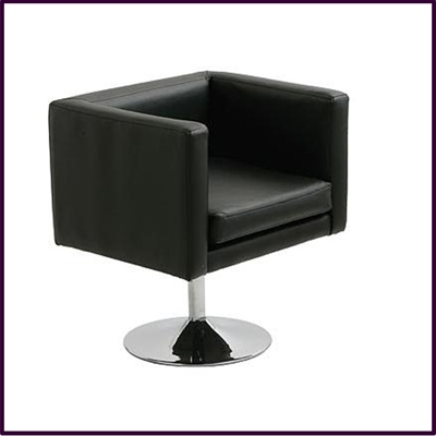 Bauhaus Revolving Black Leather Effect Chair With Chrome Base