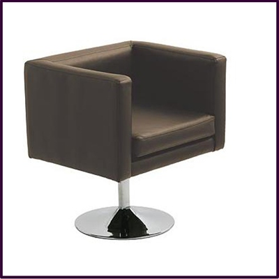 Bauhaus Revolving Brown Leather Effect Chair With Chrome Base