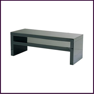 Coffee Table Black Glass Mirrored With Shelf