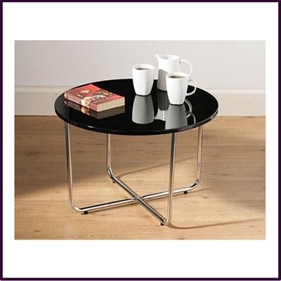 Round Coffee Table Black High Gloss Top With Chrome Legs