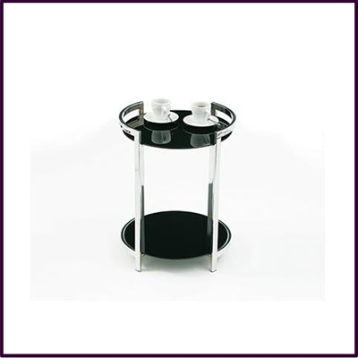 2 Tier Round Snack Table Black Temp Glass