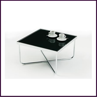 Square Snack Coffee Table Black Glass Chrome Legs