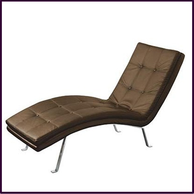 Barcelona Lounger Chair, Brown Faux Leather With Chrome Frame