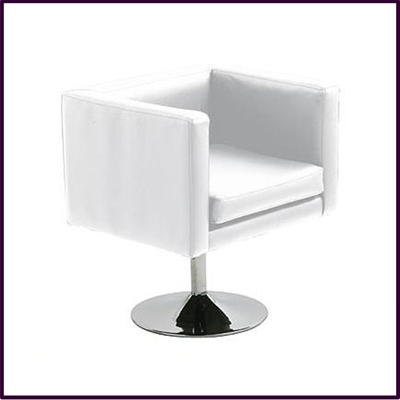 Bauhaus Revolving White Leather Effect Chair With Chrome Base