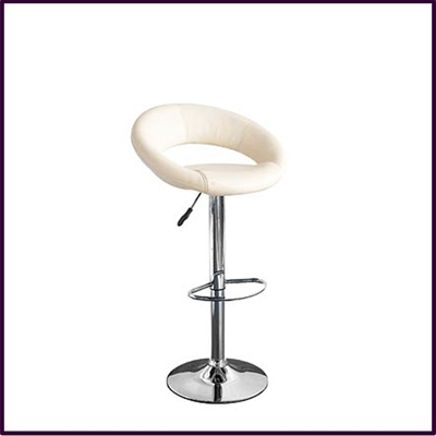 Ovel Bar Stool Chrome Leather Effect Rev Height Adjust