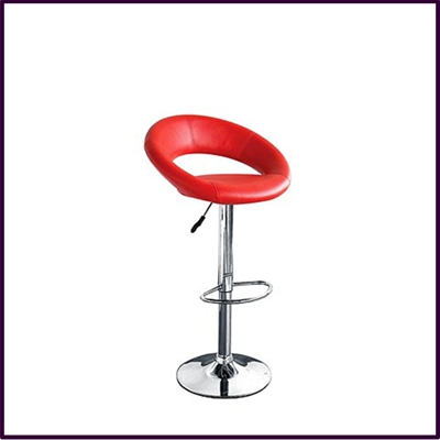 Ovl Bar Stool Red Leather Effectt Rev Highet Adjust