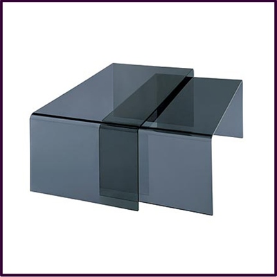Nest Of 2 Coffee Tables Grey Bent Glass