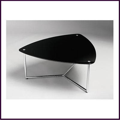 Triangular Coffee Table Black Glass With Chrome Legs