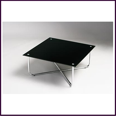 Square Coffee Table Black Glass With Chrome Legs