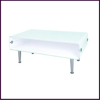 2 Tier White Glass Coffee Table With Chrome Legs