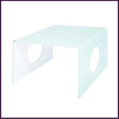 White Bent Glass Square Coffee Table With Circle Detail