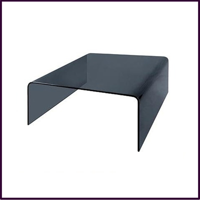 Cascade Grey Bent Glass Square Coffee Table