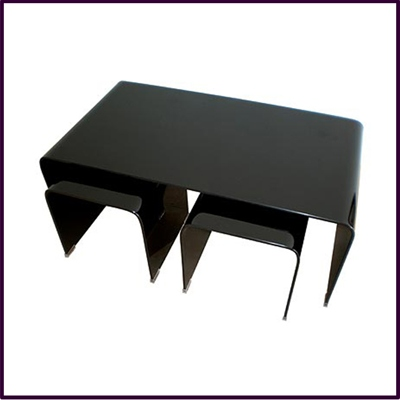 Long John Nest Of 3 Black Bent Glass Tables