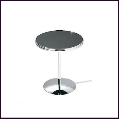 Round Black Top Side Table White Chrome Leg And Base